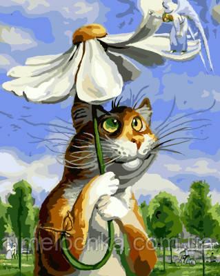 Картина по номерам Кот с ромашкой (BRM8338) 40 х 50 см