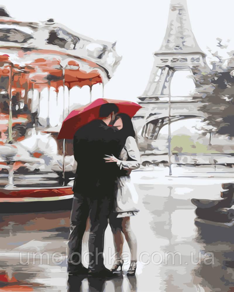 Раскраска по цифрам Влюбленные под зонтом (BRM3015) 40 х 50 см