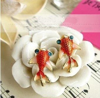 Интересные стильные серьги рыбы, рыбки