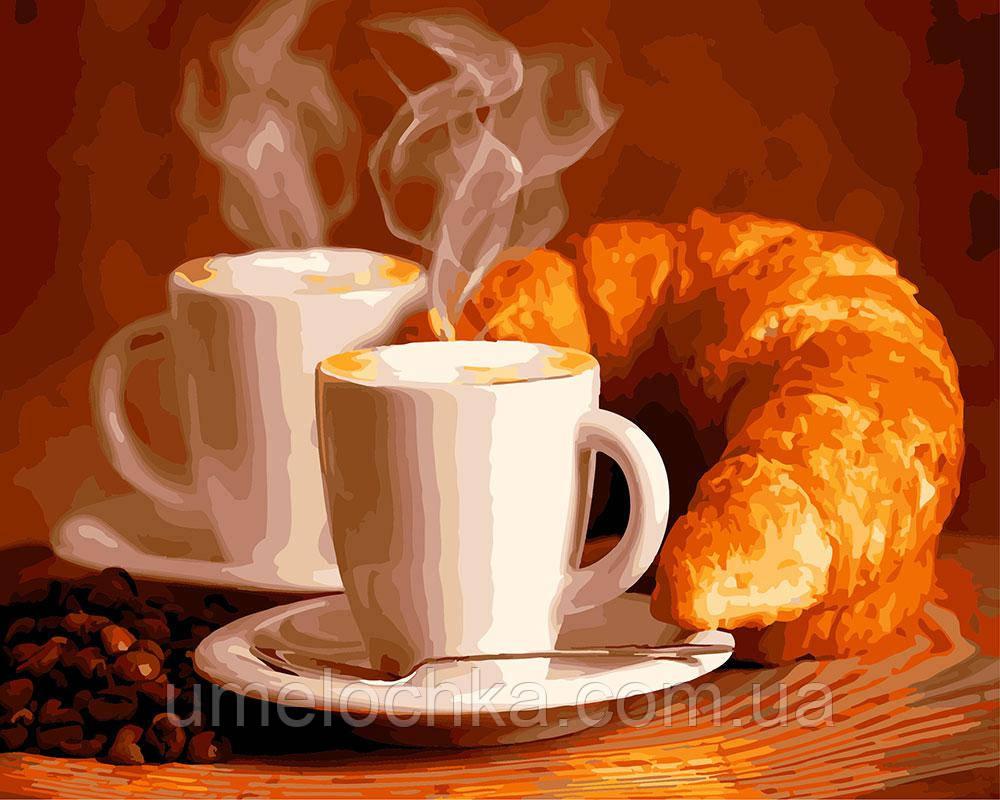 Раскраска для взрослых Кофе с круассаном (BRM5740) 40 х 50 см
