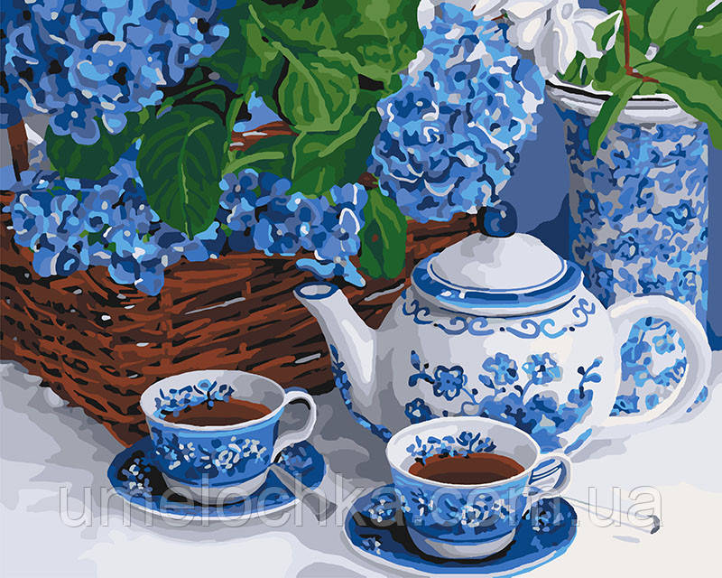 Картина по номерам Чаепитие с голубым сервизом (KH5554) 40 х 50 см Идейка