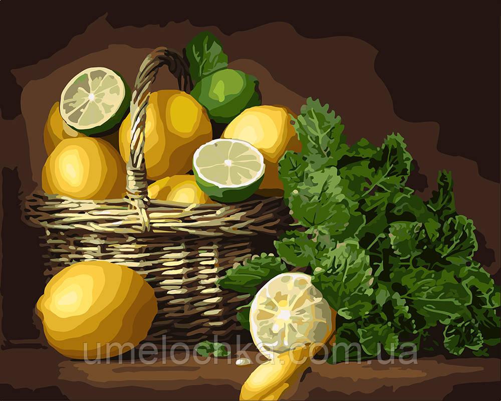Картина по номерам Идейка Корзина лимонов и лаймов (KH5589) 40 х 50 см