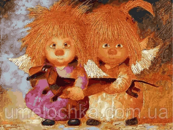 Картина по номерам Mariposa Солнечные ангелы с таксой (MR-Q2225) 40 х 50 см