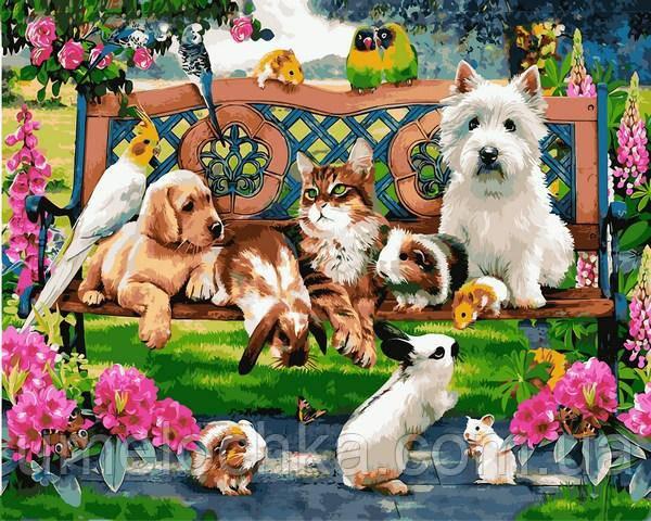 Картина по номерам Mariposa Домашние животные в парке (MR-Q2227) 40 х 50 см