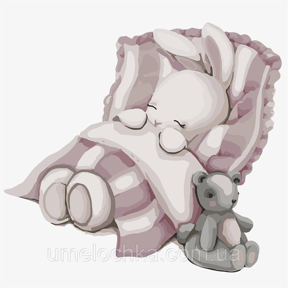 Картина по номерам Идейка Спокойной ночи, зайка (KHO2339) 30 х 30 см (Без коробки)