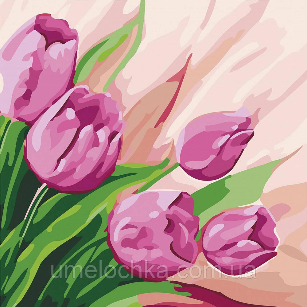Картина по номерам Идейка Персидские тюльпаны (KHO2948) 30 х 30 см (Без коробки)