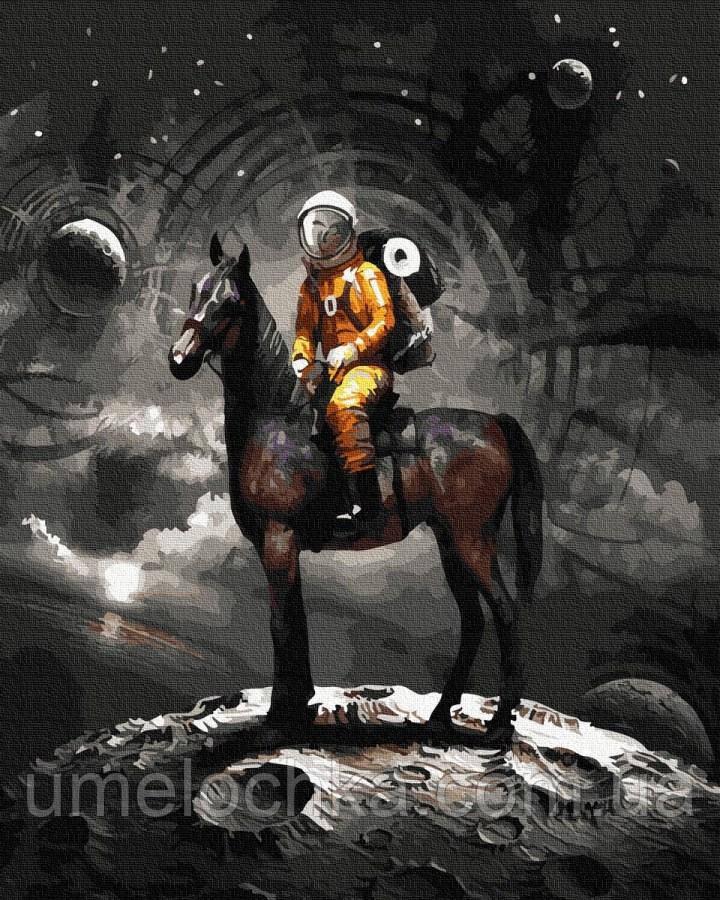Картина по номерам  В космос на коне (BK-GX28896) 40 х 50 см (Без коробки)
