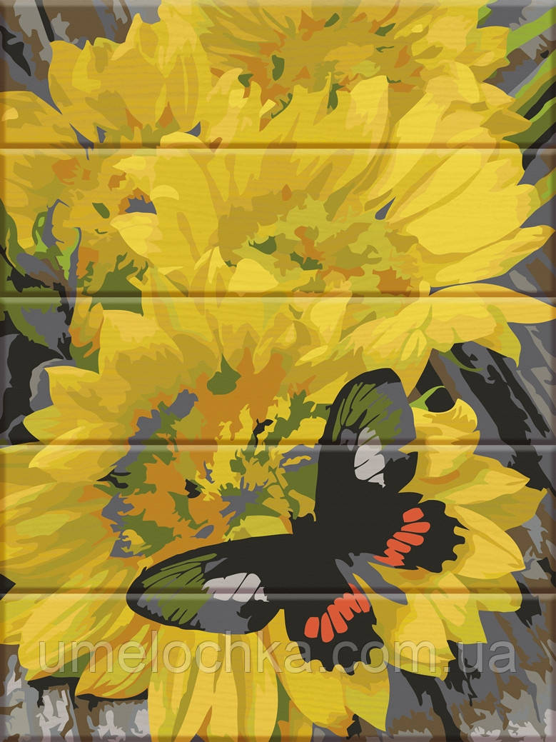 Картина по номерам на дереве ArtStory Бабочка на цветах (ASW077) 30 х 40 см