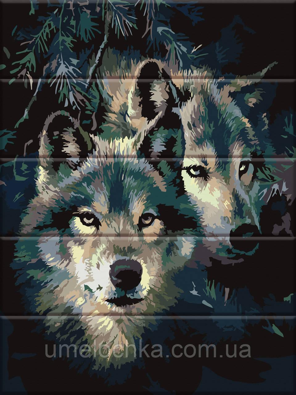 Картина по номерам на дереве ArtStory Влюбленные волки (ASW092) 30 х 40 см