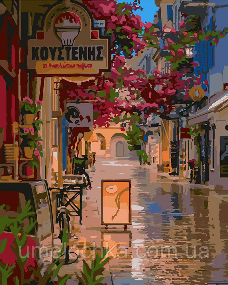 Картина по номерам Идейка Улочка в цветах (KHO3575) 40 х 50 см (Без коробки)