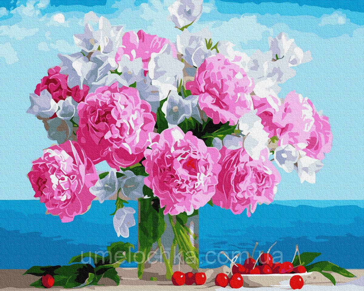 Раскраска для взрослых  Букет пионов в вазе (BK-GX34494) 40 х 50 см (Без коробки)