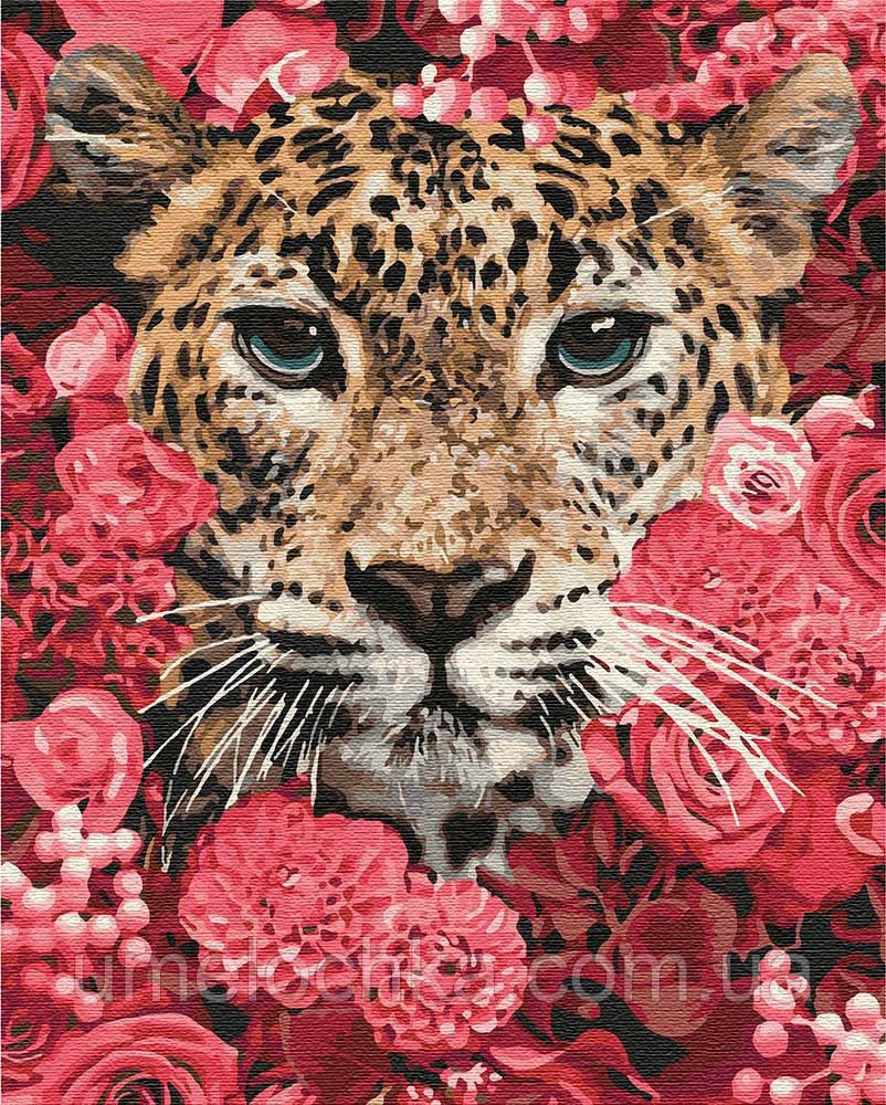 Картина по номерам Идейка Леопард в цветах (KHO4185) 40 х 50 см (Без коробки)