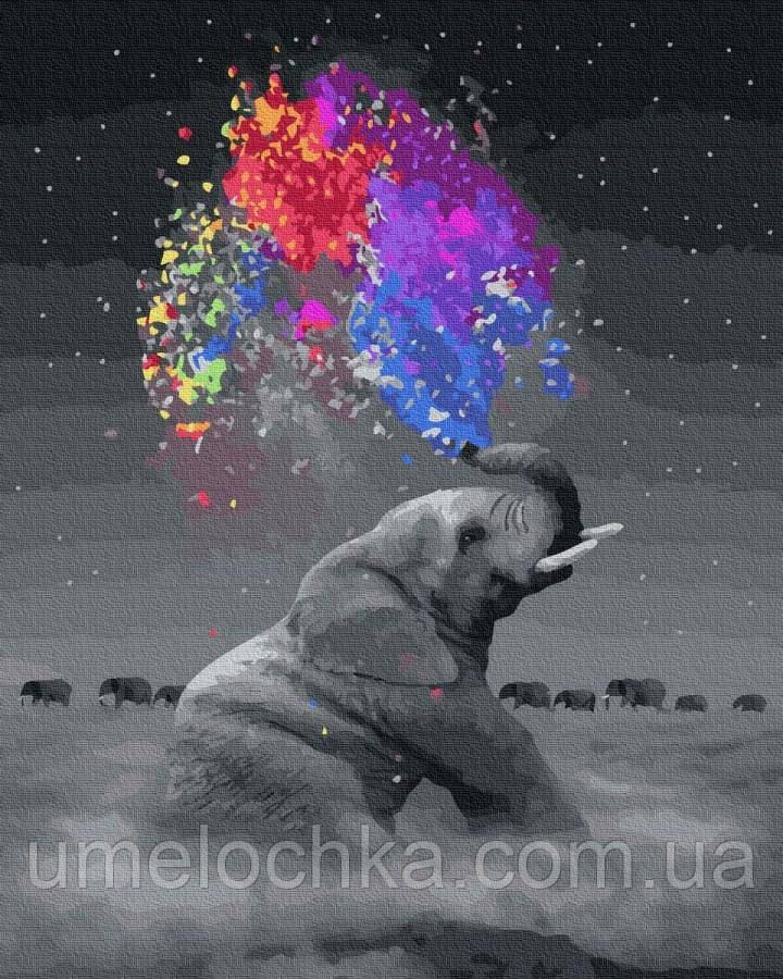 Рисунок по цифрам  Игривый слон (BK-GX36046) 40 х 50 см (Без коробки)