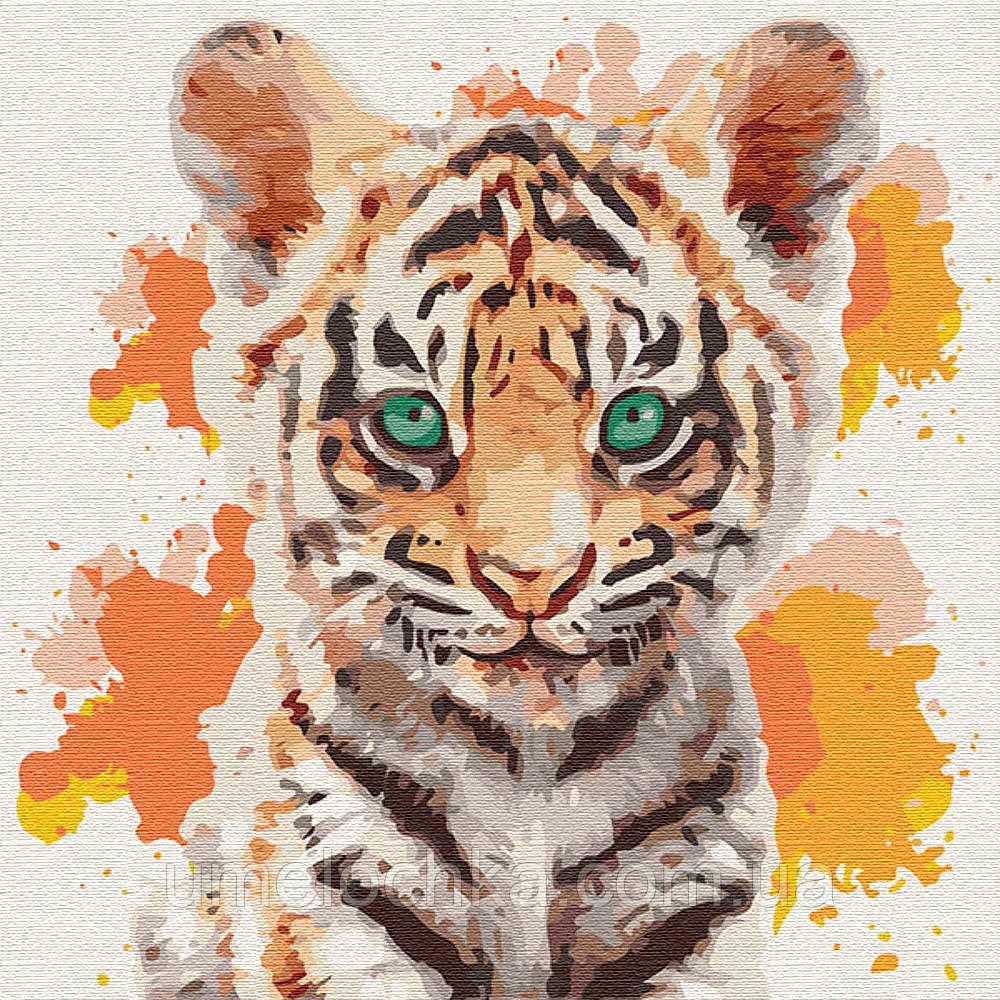 Картина по номерам Идейка Маленький тигр (KHO4195) 30 х 30 см (Без коробки)