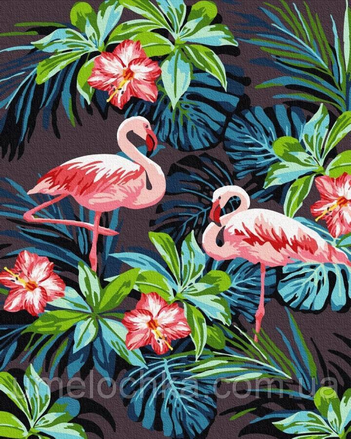 Картина по номерам  Фламинго в цветах (BRM26535) 40 х 50 см