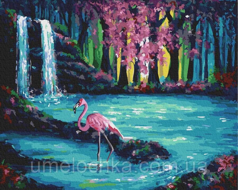 Картина по номерам  Фламинго у водопада (BRM30193) 40 х 50 см