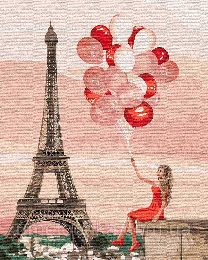 Картина по цифрам Идейка Красные краски Париже (KHO4757) 40 х 50 см (Без коробки)