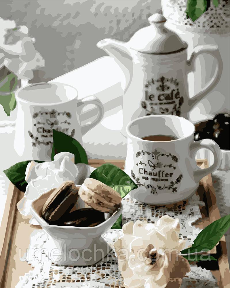 Картина по номерам Идейка Кофе с макарунами (KHO5588) 40 х 50 см (Без коробки)