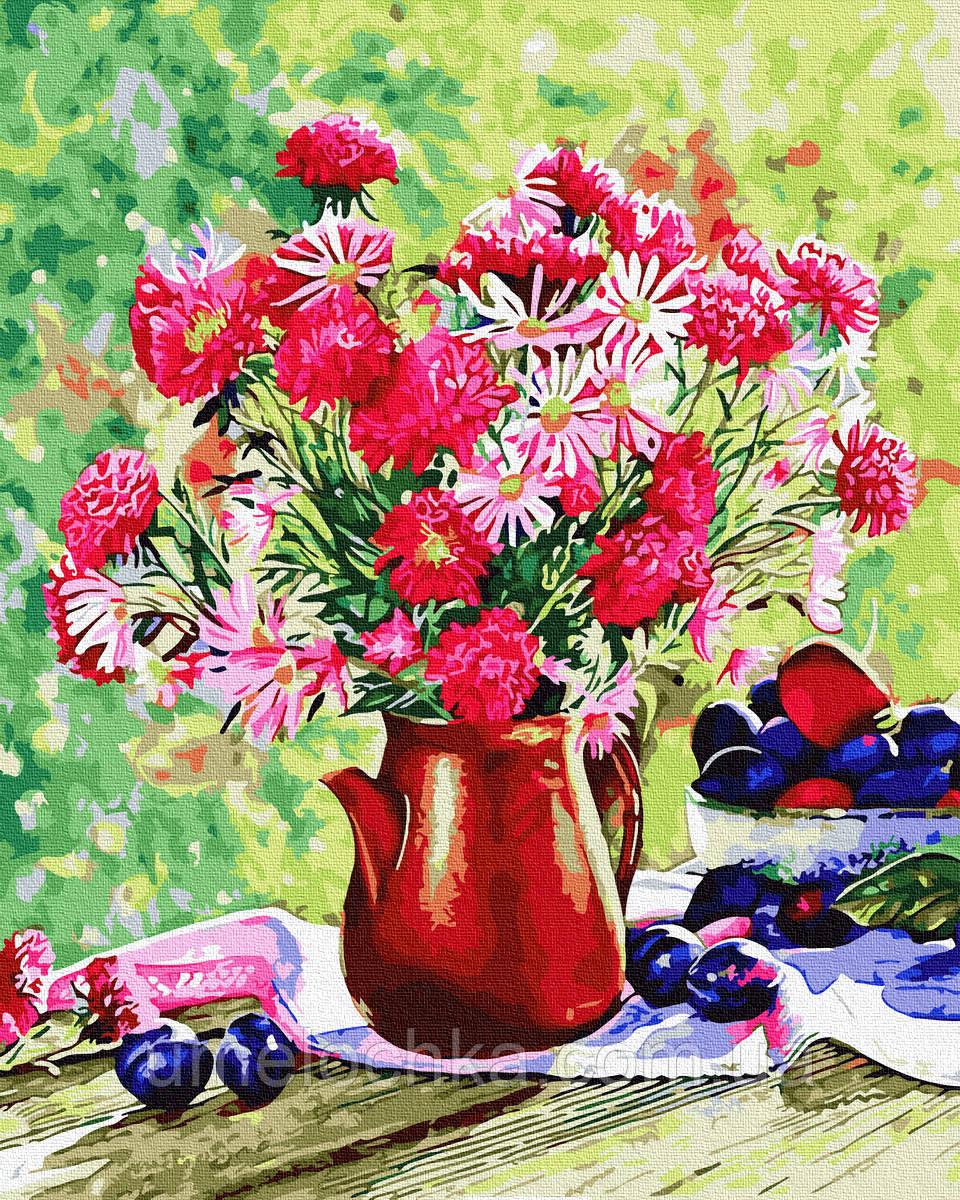 Картина по номерам  Цветы и сливы (BRM34321) 40 х 50 см