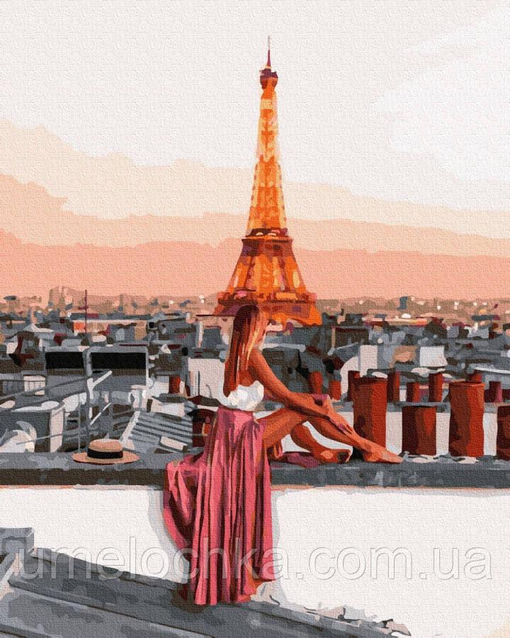Картина раскраска  Над Парижем (BK-GX36079) 40 х 50 см (Без коробки)