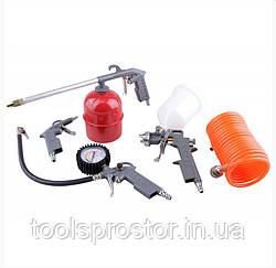 Набор для компрессора LEX KIT5 : Краскопульт   Распылитель   Продувочный   Пистолет-насос для шин