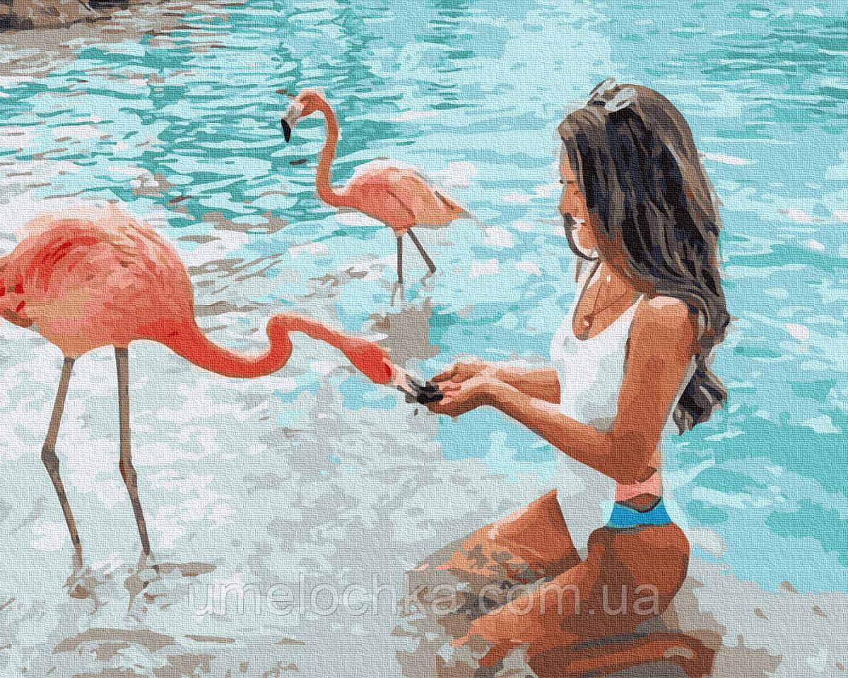 Картина по номерам  С фламинго (BK-GX36346) 40 х 50 см (Без коробки)