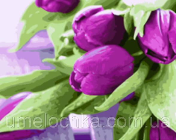 Раскраска по номерам Пурпурные тюльпаны (BRM21540) 40 х 50 см