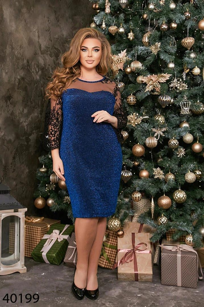 Вечернее женское платье батал Размеры: 50 52 54 56