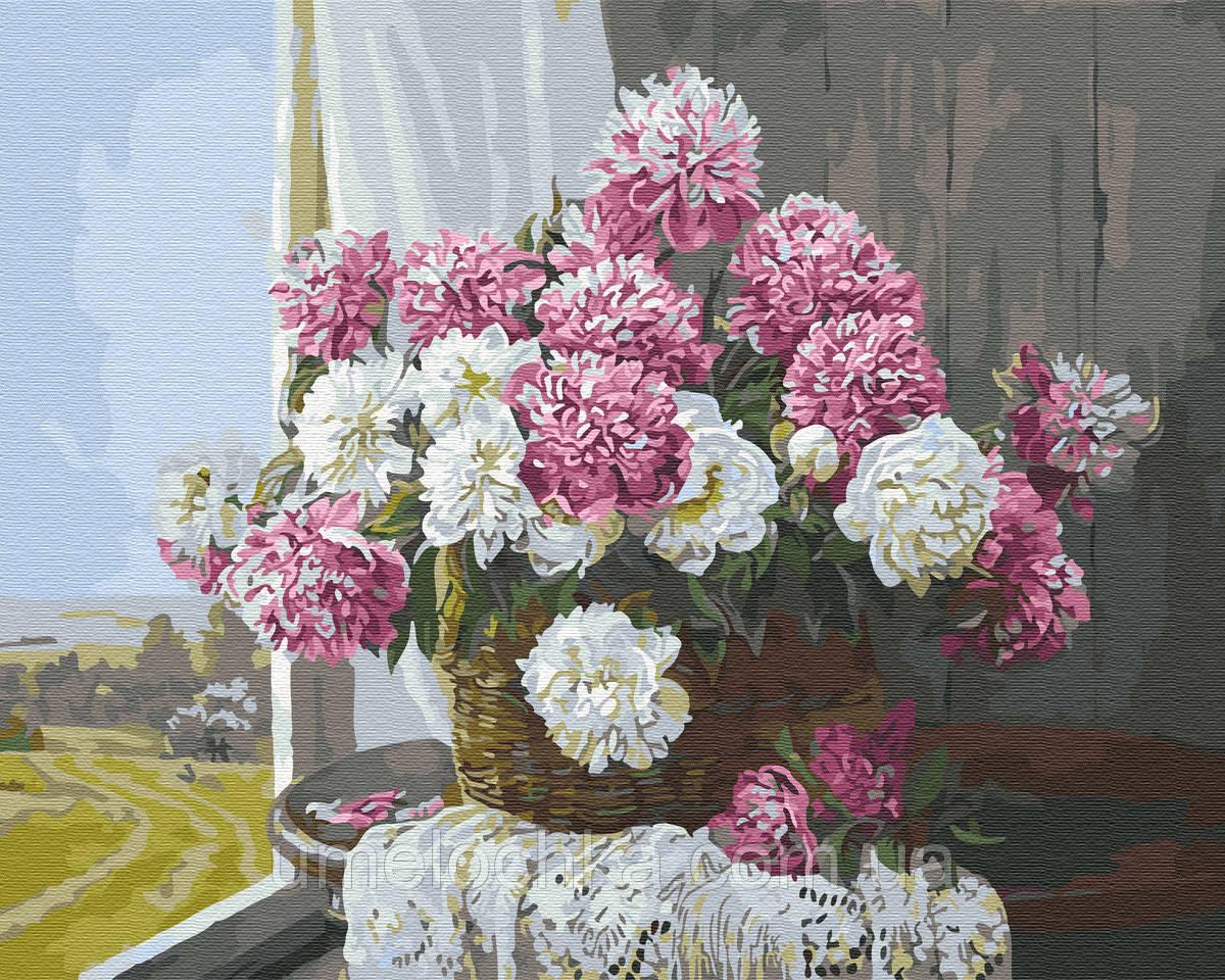 Картина по номерам  Букет пионов у окна (BRM29430) 40 х 50 см