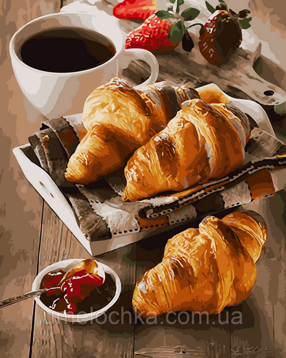 Картина по номерам  Утро с кофе и круассанами (BRM30865) 40 х 50 см