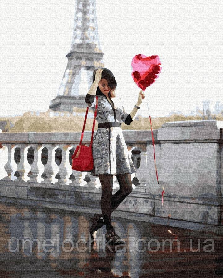 Картина по номерам  Влюбленная в париже (BRM36138) 40 х 50 см