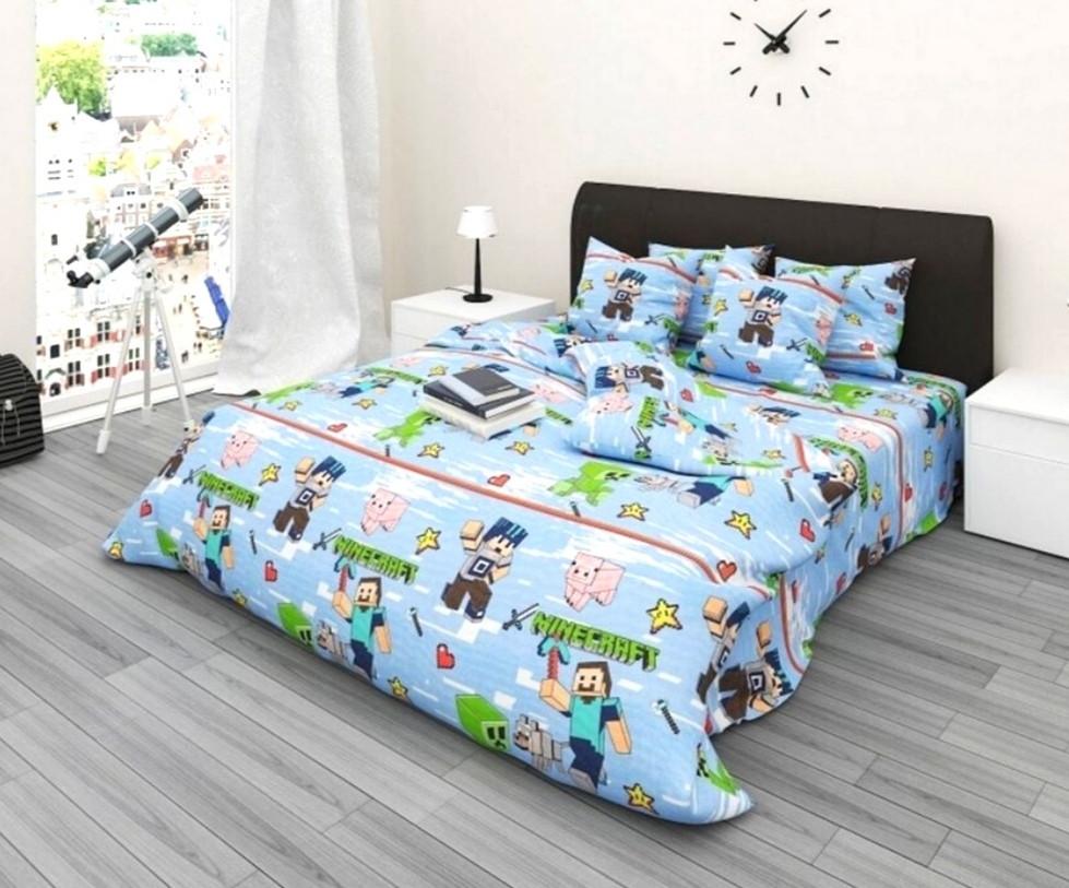Комплект детского постельного полуторного белья Майнкрафт, Бязь Люкс