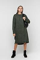 Теплое вязаное платье свободного силуэта