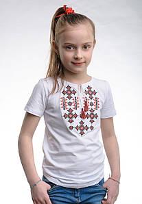 Вышитая футболка для девочки белого цвета с геометрическим орнаментом «Звездное сияние (красная)»