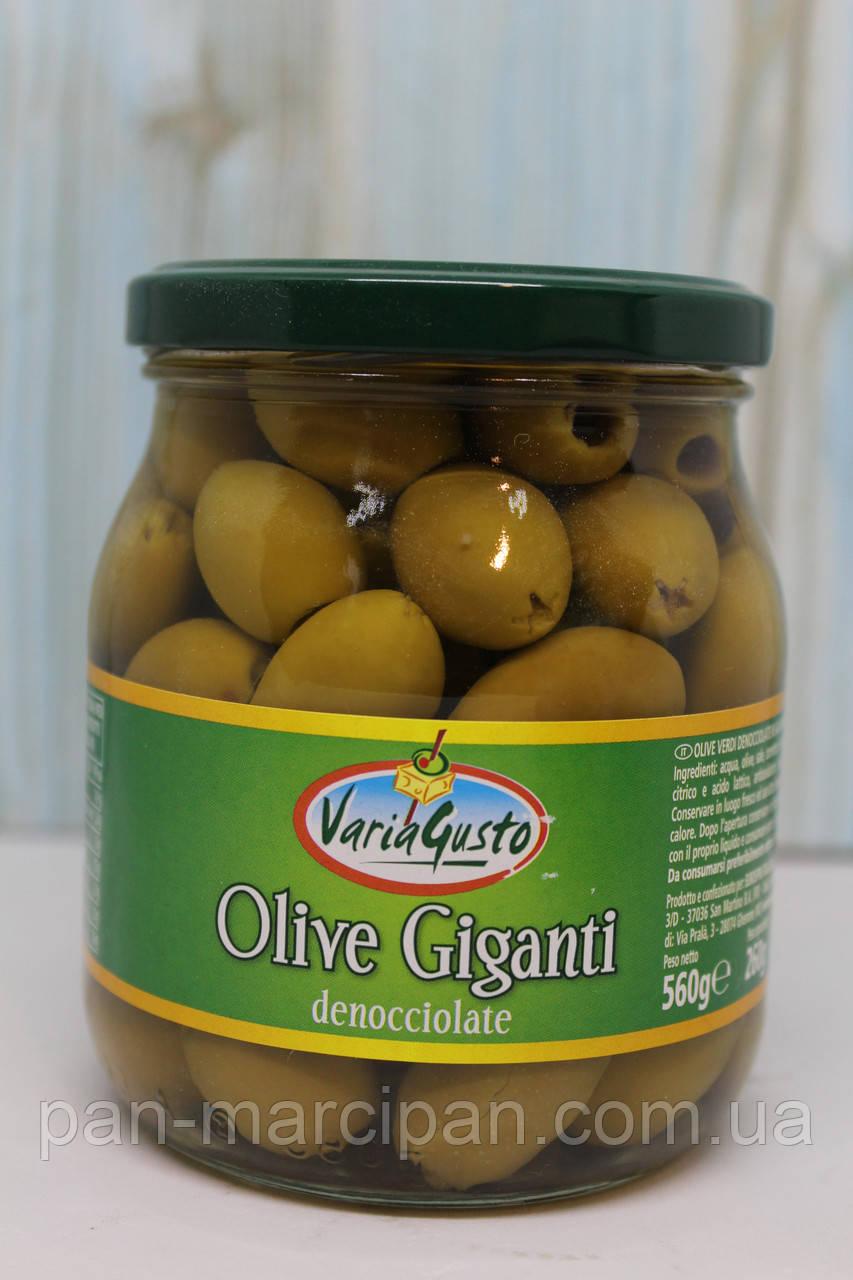 Оливки зелені Vario Gusto Giganti без кісточки 560г/260г