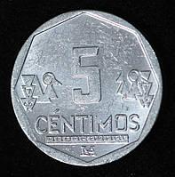 Монета Перу 5 сентимо 2012 г., фото 1