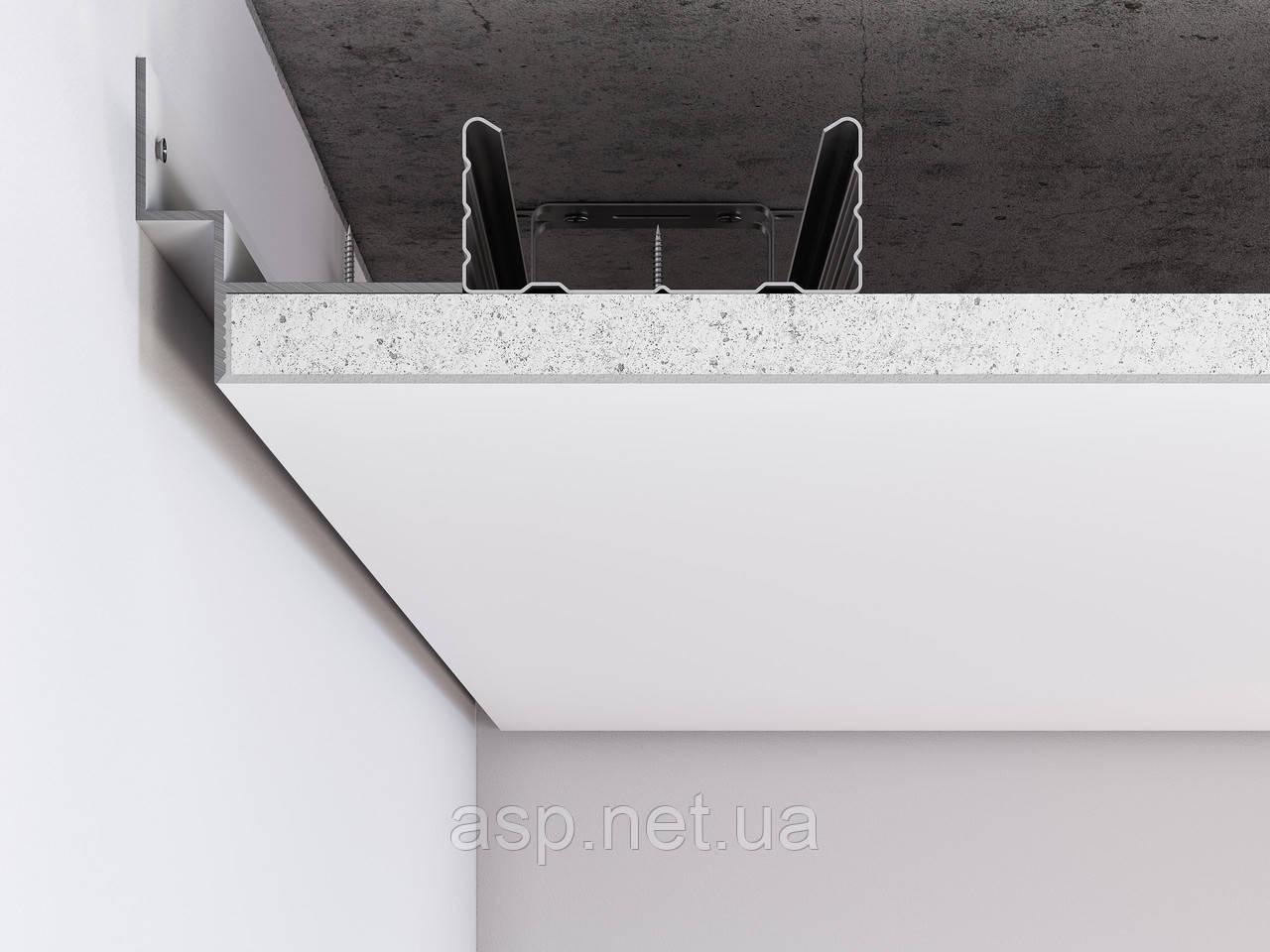 Алюминиевый профиль теневого шва по периметру примыкания стена-потолок для шва 12 мм. Алюминий без покрытия