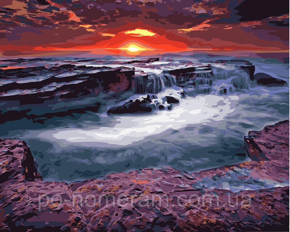 Картина по номерам BrushMe Закат у водопада (BRM23748) 40 х 50 см