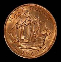 Монета Великобритании 1/2 пенни 1967 г., фото 1