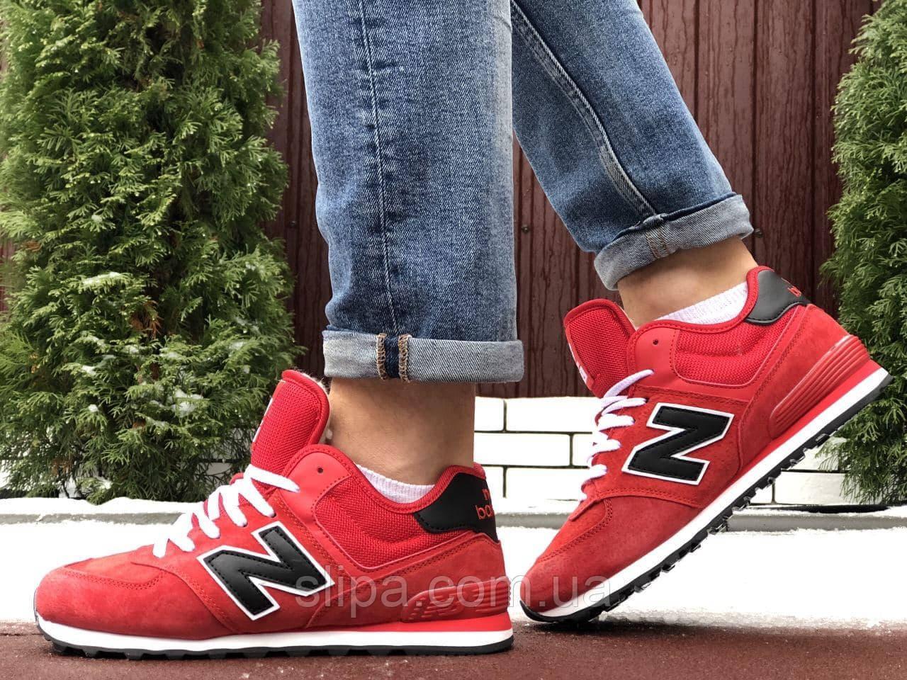 Мужские зимние замшевые кроссовки New Balance 574 красные