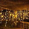 Гирлянда Бахрома на окно 4x0,6 метра 96 LED, 19 нитей, 220В, IP44. Гирлянда Золото, AL-1792-65, фото 3