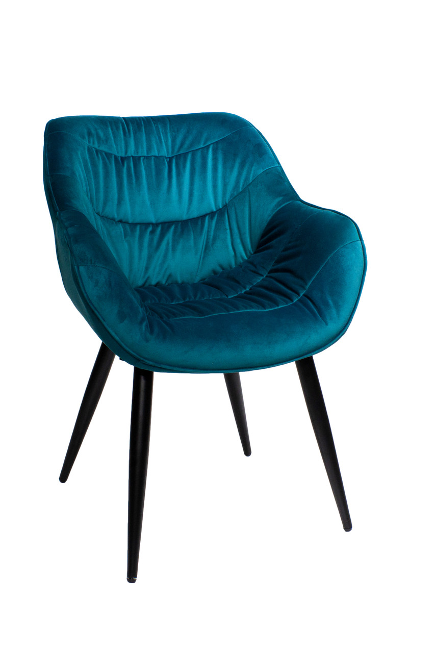 Обеденное кресло Cowboy Ковбой павлиний синий велюр