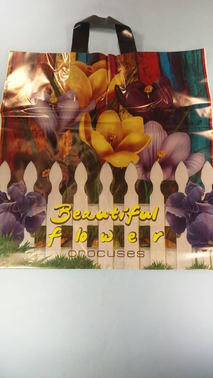 """Пакет с петлевой ручкой ср л """" Крокусы Прекрасные цветы """" (40х42)Леони (50 шт)"""