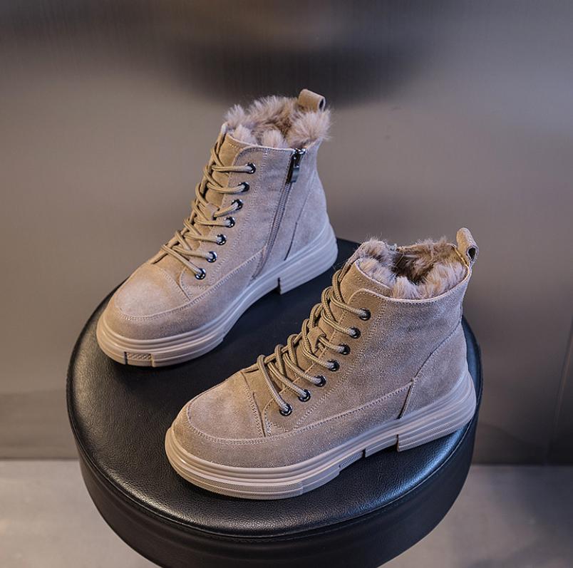 Женские теплые замшевые ботинки . Модель 4503