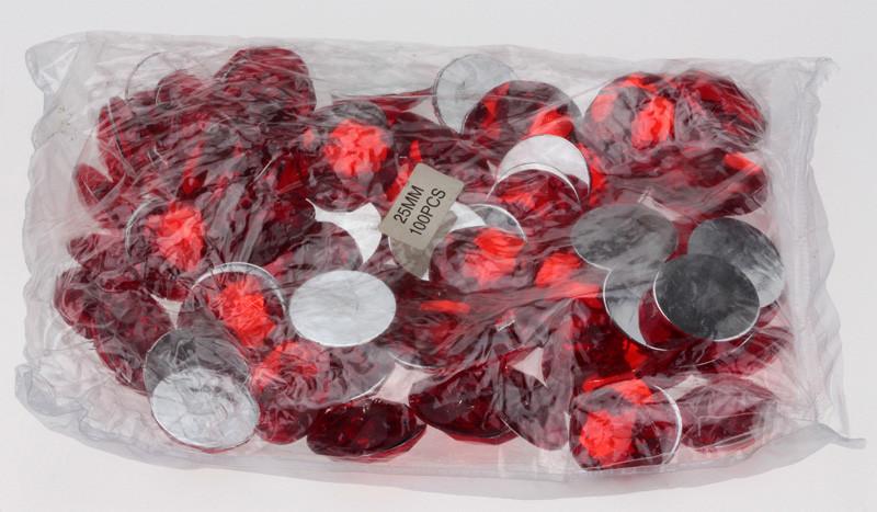 Червоні стрази 25 мм,упаковка 100 шт
