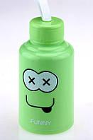 Бутылка с мордой FUNNY зеленая