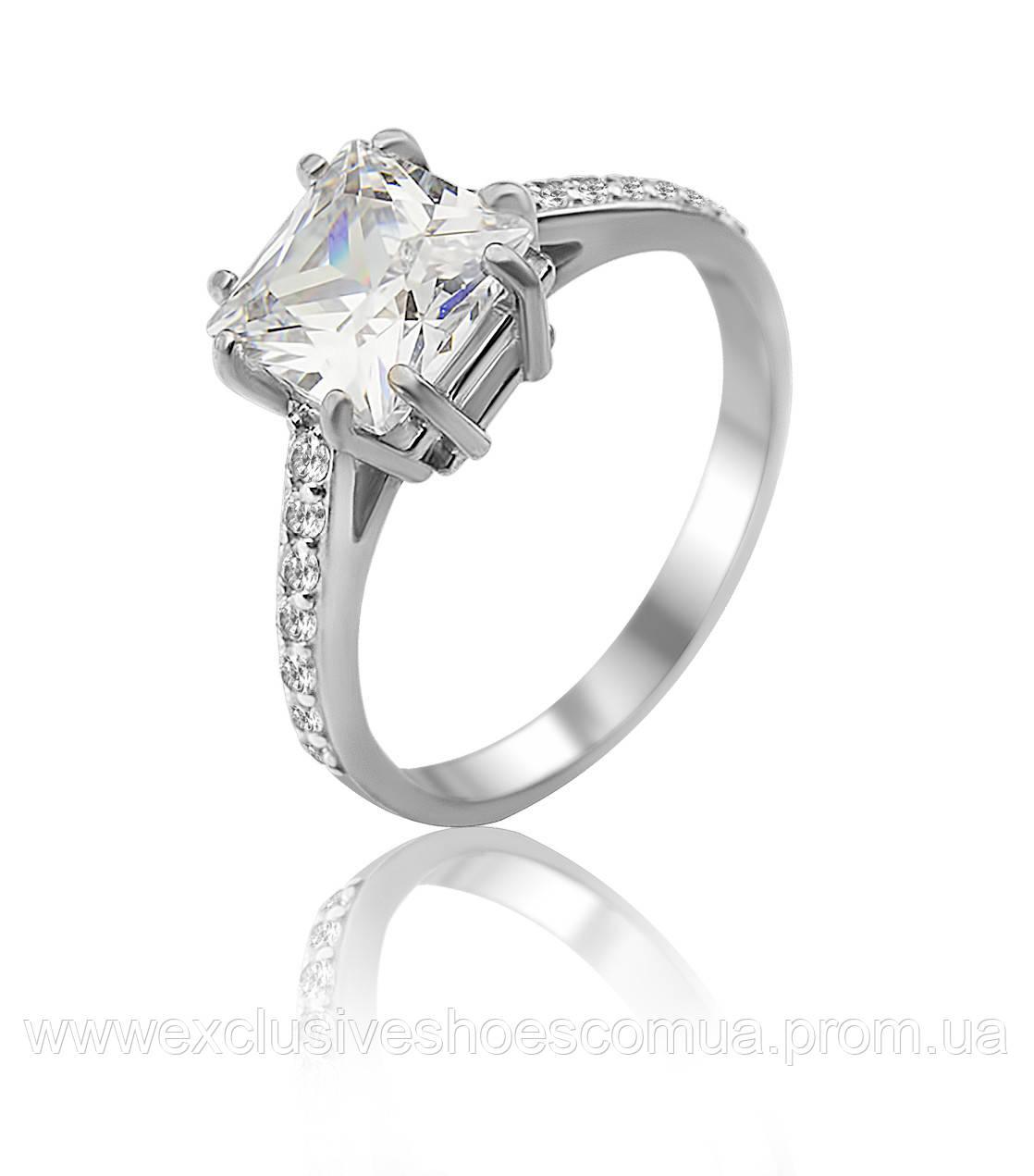 Серебряное кольцо с крупным квадратным фианитом, арт-910092б