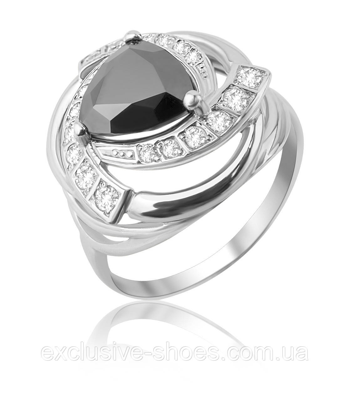 """Серебряное кольцо """"Дженна"""" с крупным черным  фианитом, арт-910122ч"""