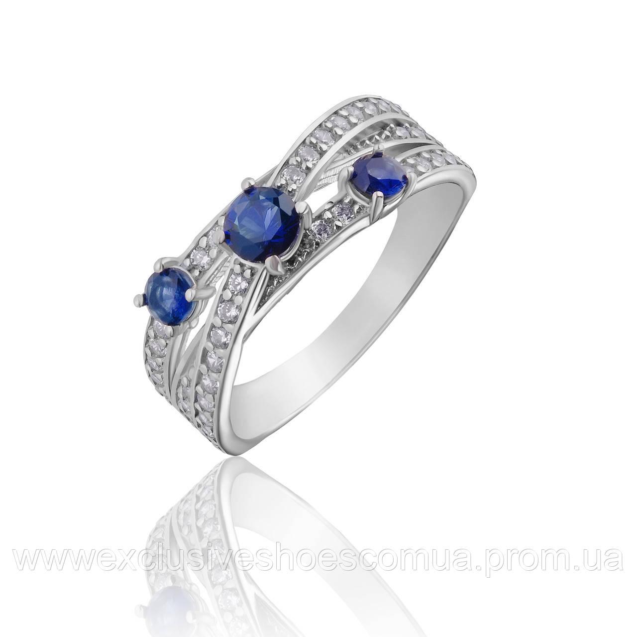 """Серебряное кольцо """"Селена"""" с тремя синими и белыми фианитами, арт-910059с"""