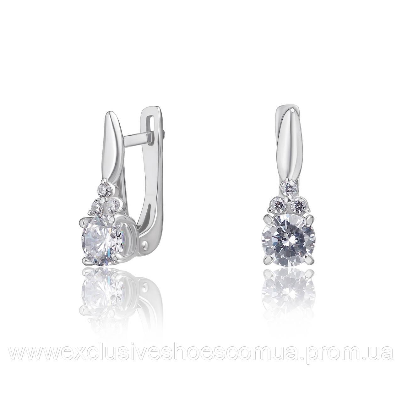 """Серебряные серьги с фианитами """"Princess"""", арт-920068"""